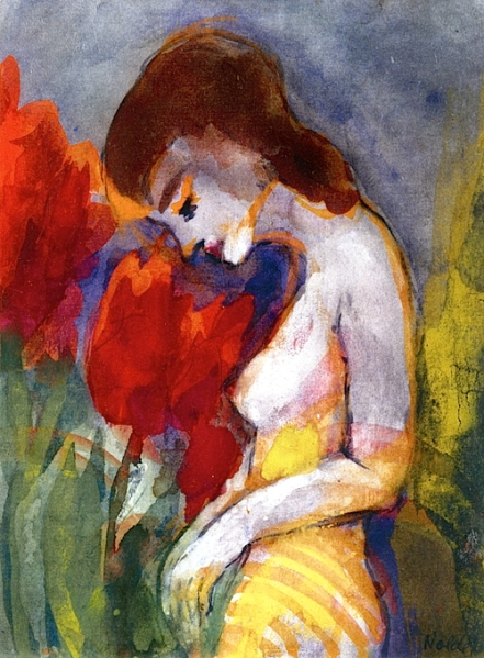 Emil Nolde Naked Woman and Red Flowers aka Semi-Nude 1938-1945
