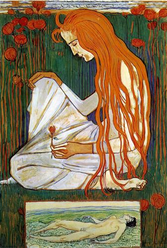 Ferdinand Hodler The Dream 1897 watercolor on cardboard