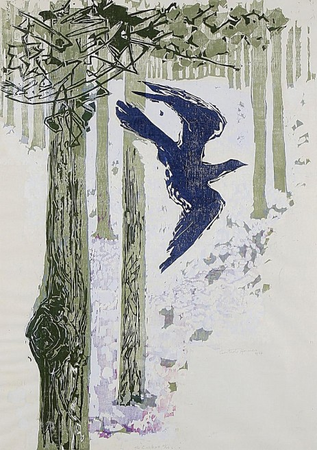 Gertrude Hermes The Cuckoo 1958 woodblock and linocut